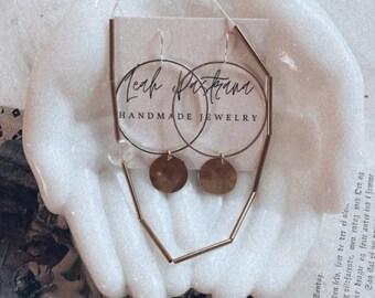 Modern Brass Earrings, Geometric Earrings,  Modern Earrings, Mixed Metal, Silver and Brass Earrings, Dangle Earrings