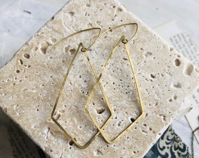 Hand Hammered Rhombus Dangles, Modern Brass Earrings, Brass Jewelry, Lightweight, Minimalist, Gold Earrings