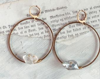 Brass Quartz Earrings