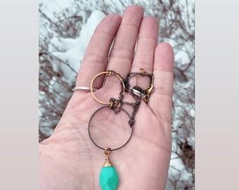 Modern Necklace, Chrysoprase Necklace, Minimalist Style, Minimalist Fashion, Mixed Metal Necklace, Boho Style