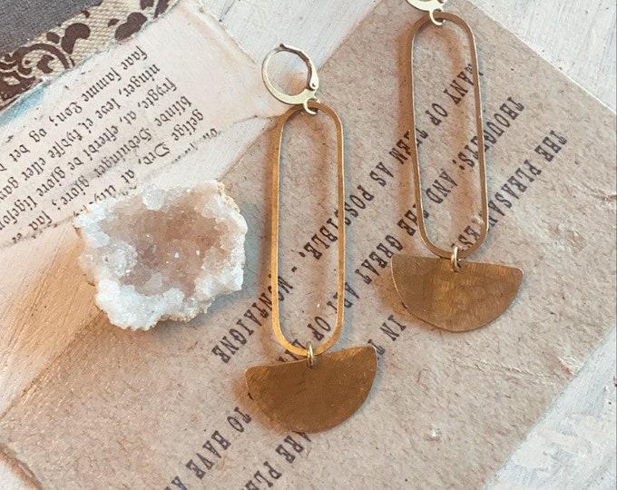 Z O Ë // Brass Earrings // Geometric Earrings // Modern Earrings //Minimalist // Gold Earrings // Affordable Jewelry // Dangles //