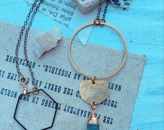 L U Z // Kyanite Necklace // Brass Necklace // Boho Style // Statement Necklace // OOAK Necklace // Brass Jewelry // Leah Pastrana //