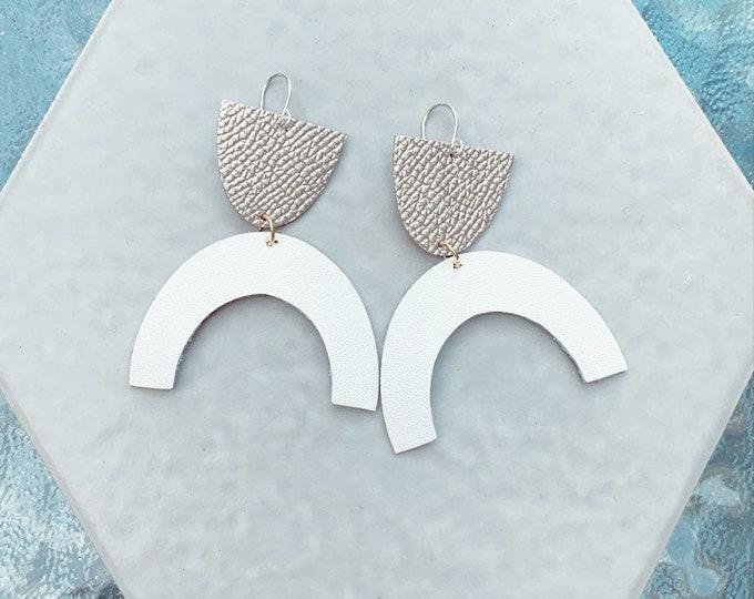 Leather Earrings // Geometric Earrings// Statement Earrings // Lightweight // Minimalist // Leah Pastrana // Unique Modern Earrings