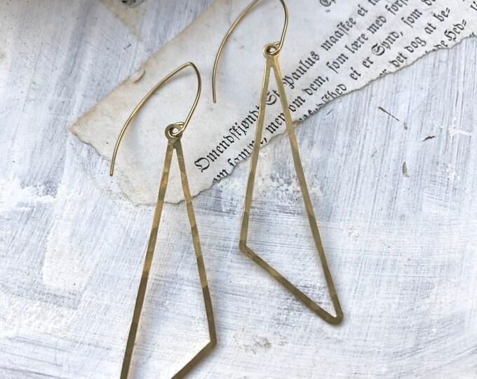 Hand Hammered Brass Triangle Dangles, Modern Brass Earrings, Brass Jewelry, Minimalist, Gold Earrings