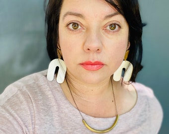 Leather Earrings // Geometric Earrings// Statement Earrings // Lightweight // Minimalist // Leah Pastrana // Unique Modern Earrings