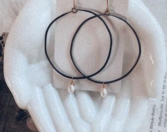 Brass Earrings, Statement Earrings, Modern Earrings, Mixed Metal Earrings, Contemporary, Freshwater Pearl Earrings, Seattle, Leah Pastrana
