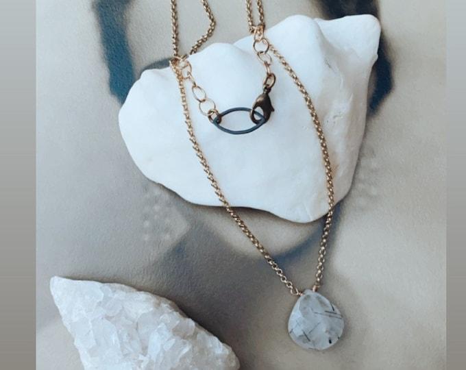 Black Tourmanilated Quartz Necklace, Modern Necklace, Minimalist Style, Minimalist, Mixed Metal Necklace, Leah Pastrana, Solitaire Necklace