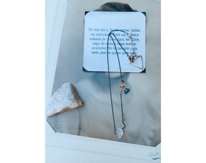 Raw Quartz and Moss Aquamarine Necklae, Modern Necklace, Minimalist Style, Minimalist Fashion, Mixed Metal Necklace, Leah Pastrana