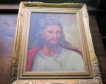 Large Oil Painting ~ 1950's Jesus Art ~ Gold carved Frame, Vintage Carved Gesso Picture Frame, Spiritual, Biblical,Godly, Religious Painting