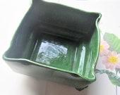 Vintage Planter, 1950 39 s Covina California Pottery Container, Deep Green Slight Drip Glaze, Square Shape Floral Supply Centerpiece, Mod Decor