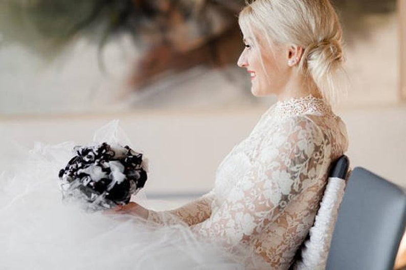 Eloping, Handmade Weddings Vintage Fabric Flower Bouquet Unique Bridal Wedding Bouquet Civil Flower Girl Bridesmaid Gift Bouquet