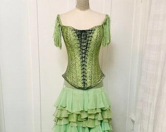 Spectacular Hector Terrones 2pc Green Gown w/Corset Top