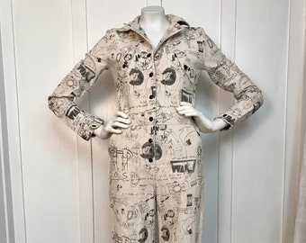 Rare and Unique Printed Canvas Jumpsuit - Small