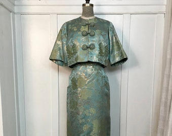 GORGEOUS Vintage  Edna Chu Custom Strapless Evening Gown with Bustle & Jacket