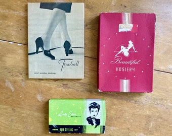 Vintage 1940s Beauty Product Boxes and Deadstock Hosiery Lot - 3pcs