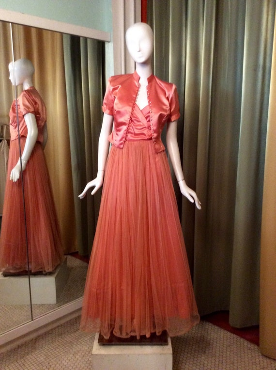 Vintage 1940s Peach Emma Domb Evening/Party Dress