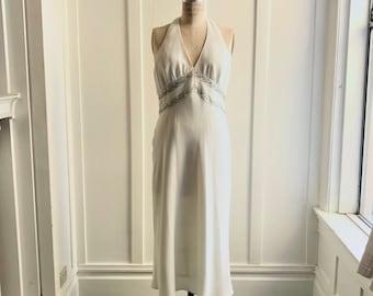 Evan Picone White Halter Dress