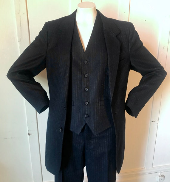 Vintage JC PENNEY Men's Navy Pinstripe Wool 3-pc … - image 2