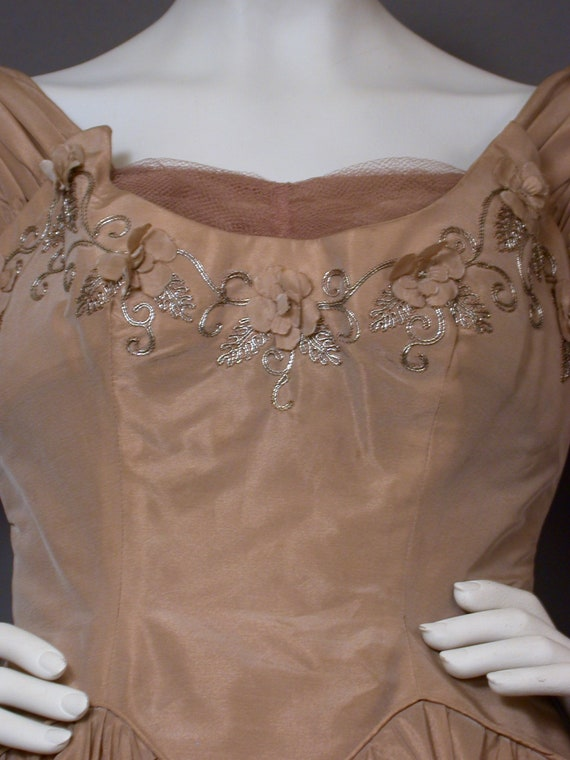 Vintage 1960s Light Brown Party/Prom Dress - image 3