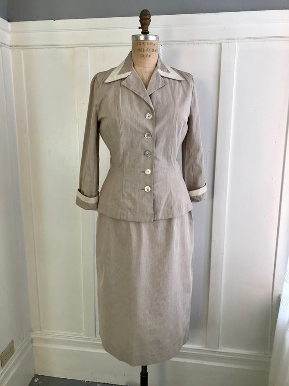 Vintage 40s/50s Sorority House Seersucker 2pc Skir