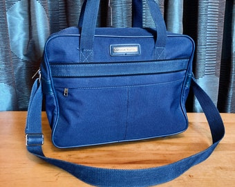 Vintage 1970s/80s Blue Canvas American Tourister Overnight Bag