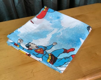 Vintage 1970s Superman Twin Flat Sheet - Very Good Color