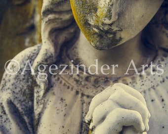 PRAYING ANGEL #2 Moss covered statue in cemetery Instant digital download original Agezinder art photography