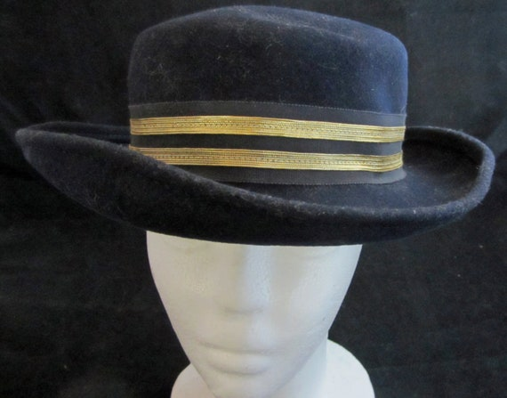 c3e377a78c2 Sweet Navy Wool Sailor Hat Vintage 50 s by Bollman Hat Co.