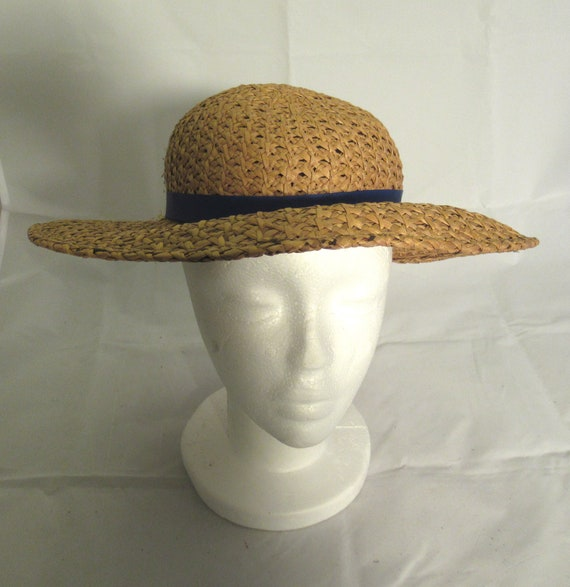 Wide Brimmed Straw Sun Hat with blue Ribbon  Vinta