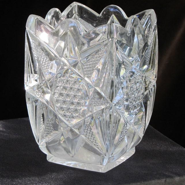 Heavy Pressed Glass Vase Faux Cut Glass Pattern Vintage Etsy