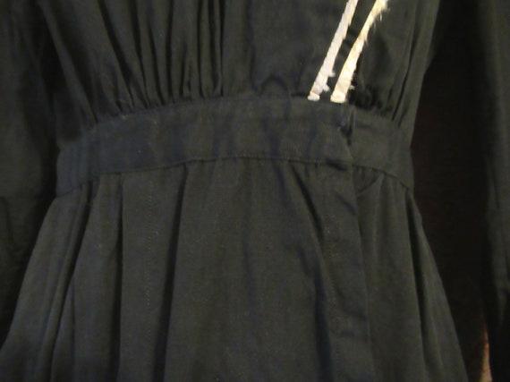 Black Cotton Edwardian Dress Antique Work Dress R… - image 4