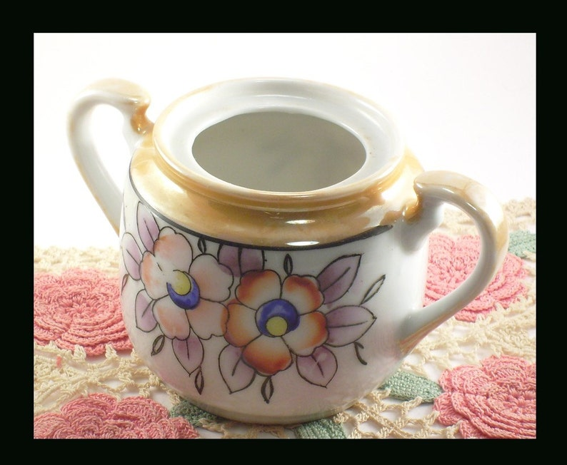 Lusterware Floral and Gold Sugar Bowl Japan Vintage Antique