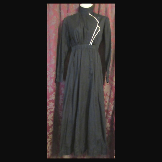 Black Cotton Edwardian Dress Antique Work Dress R… - image 2