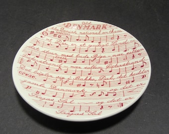 "Hand Painted Nymolle Old Denmark ""National Anthem"" Plate Dish Shallow Bowl Antique"