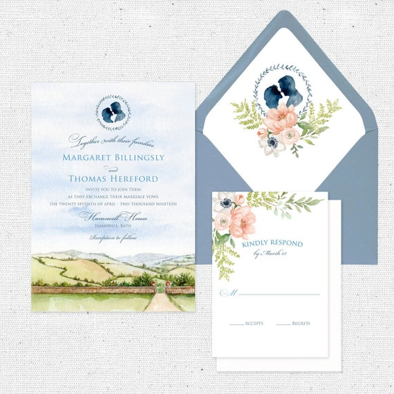 Sample English Country Romance Watercolor Wedding Invitation Suite Countryside Wedding Silhouette Invitation
