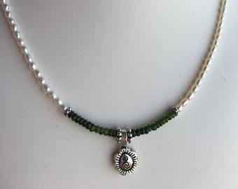 Necklace — Silver Pendant, Green Garnet, Freshwater Pearls