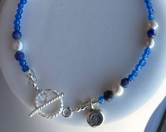 Bracelet — Blue Agate, Freshwater Pearls, Sodalite and Hill Tribe Village Silver Charm