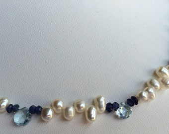 Necklace - Zig Zag Freshwater Pearls, Aquamarine Droplets and Iolite