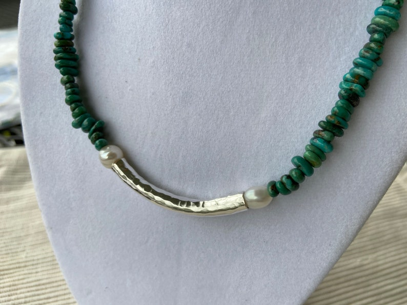 Freshwater Pearls Hammered Sterling Tube Pendant Necklace Smooth Turquoise