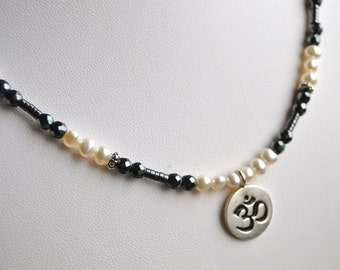 Necklace - Sterling Om Charm with Freshwater Pearls, Hematite and Pewter Accents