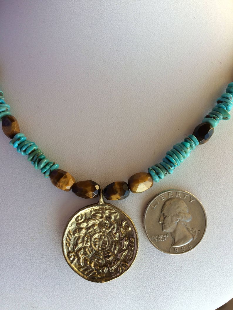 Necklace \u2014 Brass Pendant Turquoise and Tigers Eye