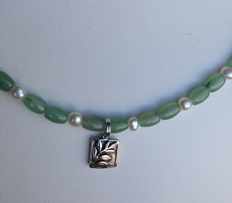 Square Pewter Fern Charm Pale Green Aventurine and Freshwater Pearls SALE \u2014 Necklace