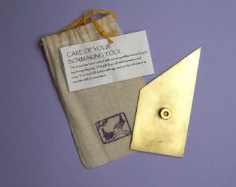 Brass Nevada modified triangle for bookbinding and boxmaking LEFT HANDED. Invented by me in 1994 and named by the late Garry Harrison.