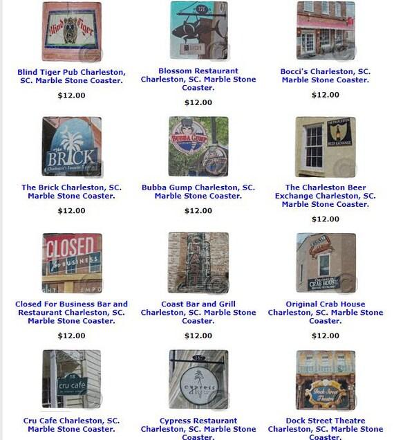 Charleston Coasters Sc U Pick 4 Landmark Marble Stone Etsy