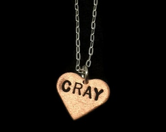 Cray Necklace - Cray Cray Heart Necklace, Round Necklace, Metalwork, Metal Pendant, Metal Taboo