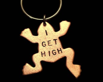 420, Cannabis, Denver, I GET HIGH, Weed, Frog Keychain, Marijuana, Drugs, Animal Charm Key Ring, Hand Stamped Copper, Stamped Keychain
