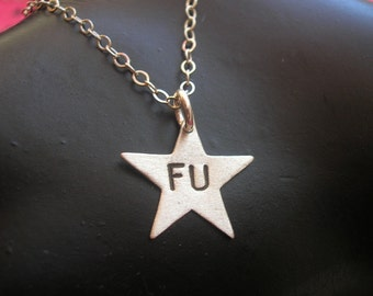 FU, Small Star Necklace, Silver Star Charm, Sterling Jewelry, Fuck You, Fuck Off, Stamped Necklace, Metalwork, Sterling Silver, Minimalist,