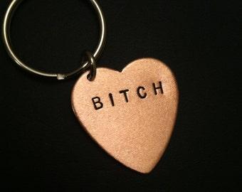 Bitch Keychain, Feminist Gifts, Boss Bitch, Stamped Heart Keychain, Copper Heart, Copper Key Ring, Womens Keychain, Unisex, Metal Taboo