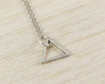 Geometric Triangle Necklace, Geometric Silver Necklace, Triangle Jewellery, Minimal Necklace, Delicate Triangle Necklace, Ditsy Triangle