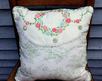 Vintage Doily Pillow with Green Plaid Polished Cotton back, Vintage Buttons,  So PaRiS rOMaNtiC!